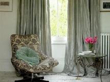 шторы для гостиной из серебристого шелка