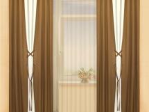 необычный фасон штор для зала