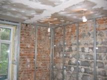 Установка гипсокартона на стены конструкция