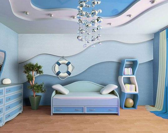 стеклообои в интерьере детской спальни
